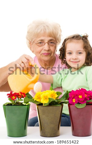 Gardening, planting - grandmother with granddaughter watering flowers in the flowerpots, isolated over white - stock photo
