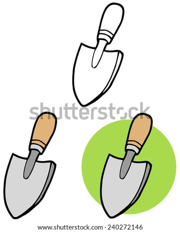 Gardening Tool-Small Hand Trowel. Raster Collection Set - stock photo