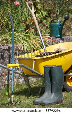 Gardening tools and accessories - stock photo