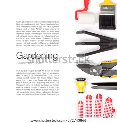 gardening tools and essentials on white background with copy space top view