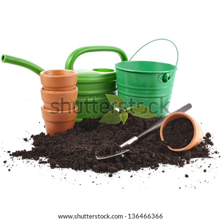 gardening tools and seedling in soil heap isolated on white background