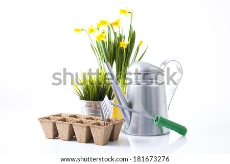 gardening tools and spring flowers isolated on white - stock photo