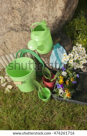 gardening tools in the garden