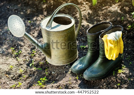 Gardening tools in the garden. Watering can, rubber boots, garden tools, rubber gloves. Gardening composition. Garden, green bushes, yield ground. Working in the garden.  - stock photo
