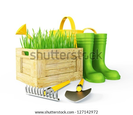 gardening tools isolated on a white background - stock photo