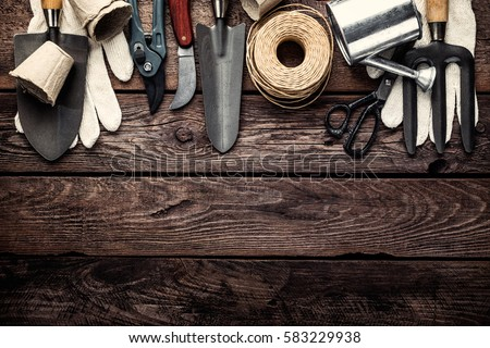 Gardening tools on dark wooden background stock photo for Best gardening equipment