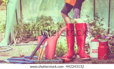 Gardening Tools Outdoor In Garden, Red Rubber Boots Water Can Hose. Woman  Farmer Working