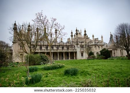 Gardens and Grounds of Brighton Royal Pavilion with Cloudy Skies, Brighton, England - stock photo