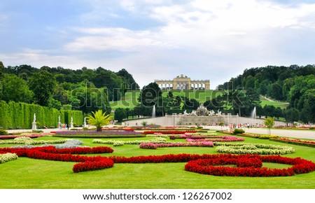 Gardens at Schonbrunn Palace Vienna - stock photo