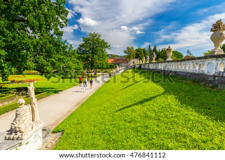 Gardens of czech historical town Cesky Krumlov enlisted in UNESCO, Czech republic. UNESCO World Heritage Site