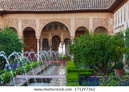 Gardens of the Generalife in Spain, part of the Alhambra  - stock photo