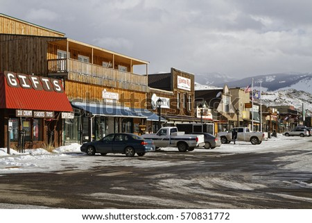 GARDINER, MONTANA, January 22, 2017 : Gardiner, a town of Park County, Montana, was officially founded in 1880, but the area has served as entrance to Yellowstone National Park since creation in 1872.