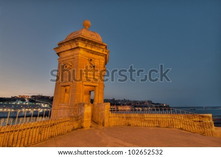 Gardiola (watch tower) overlooking the Grand Harbour in Malta - stock photo