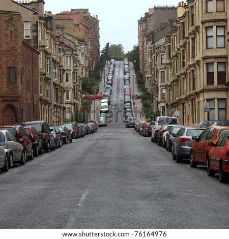 Gardner Street, the steepest road on Glasgow hills - stock photo