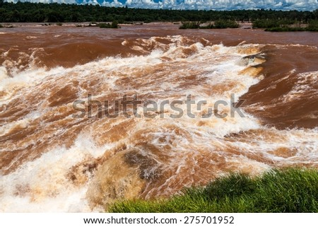 Garganta del Diablo (Devil's Throat) at Iguacu (Iguazu) falls on a border of Brazil and Argentina - stock photo