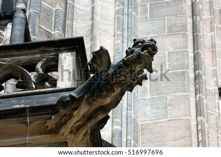Gargoyle in the Cathedral church Sacred Vitus in Prague, Czech Republic