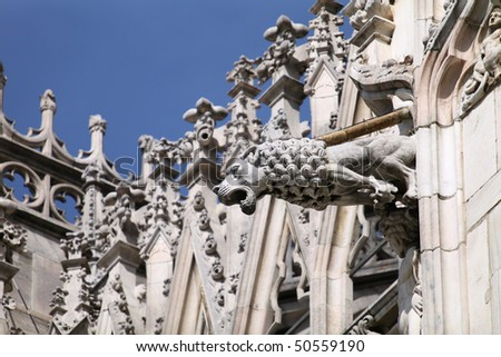 Gargoyle On The Milan Cathedral Gothic Architecture