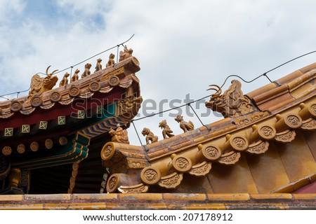 Gargoyles at the Forbidden City - stock photo