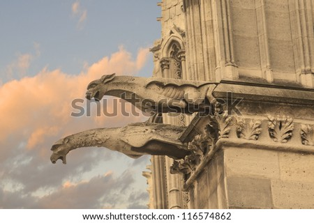 Gargoyles of Notre Dame cathedral in Paris - stock photo