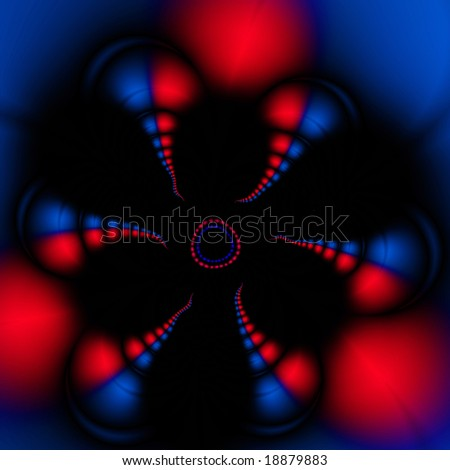 Garlands of red and blue balloons, fly in the dark depths of space. - stock photo