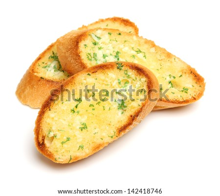 Garlic and herb bread slices - stock photo