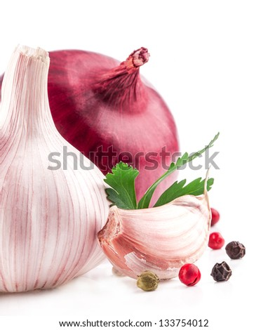 Garlic and onion with peppercorn and parsley isolated on white background - stock photo