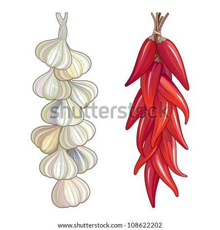 Garlic and red chili tied in a traditional string. Hot and spicy flavouring ingredients used in worldwide cuisine. - stock photo