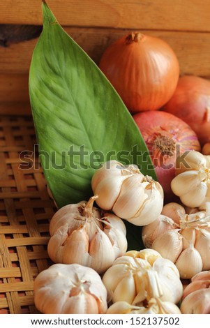Garlic and red onion - stock photo