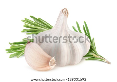 Garlic and rosemary isolated on white - stock photo