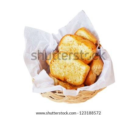 Garlic bread isolate on white - stock photo