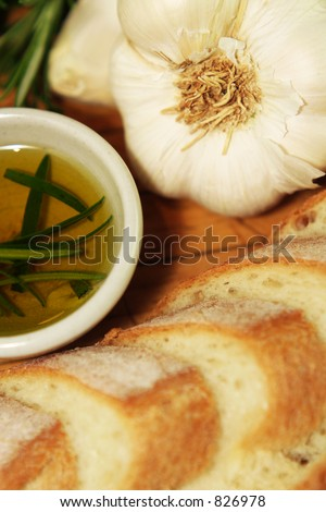 Garlic Bread portrait cropped - stock photo