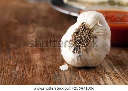 Garlic bulb closeup macro with tomato sauce in the background.  Shallow depth of field. - stock photo
