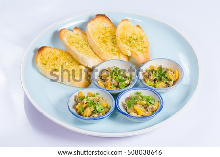 garlic butter clam on white background