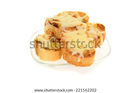 garlic cheese bread on glass plate - stock photo