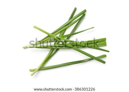 garlic chives on white background