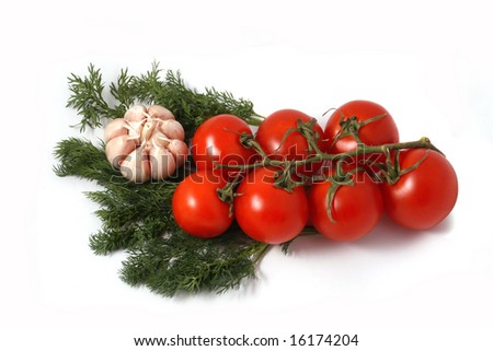 garlic, fennel and tomatoes branch on a white background