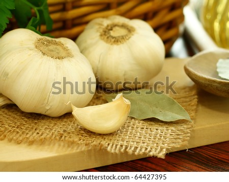 garlic on wooden - stock photo