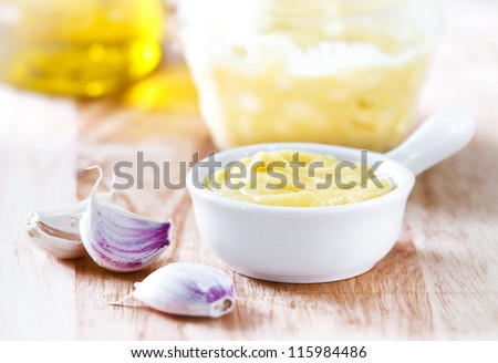 Garlic sauce Aioli - stock photo