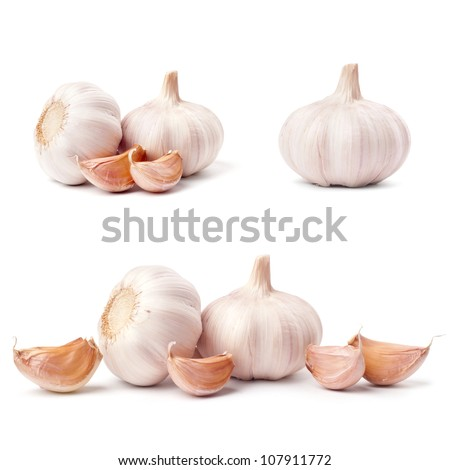 Garlic set isolated on white background - stock photo