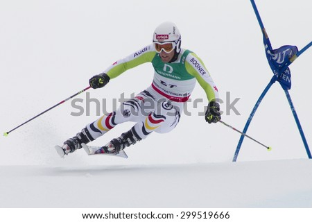 GARMISCH PARTENKIRCHEN, GERMANY. Feb 18 2011: Fritz Dopfer (GER) competing in the mens giant slalom race on the Kandahar race piste at the 2011 Alpine skiing World Championships