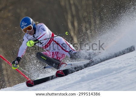 GARMISCH PARTENKIRCHEN, GERMANY. Feb 19 2011: Marlies Schild (AUT) competing in the women's slalom race , at the 2011 Alpine skiing World Championships
