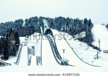 GARMISCH PARTENKIRCHEN, GERMANY - MARCH 13: The winter sport Olympic Stadium  on March 13, 2016 in Garmisch Partenkirchen, Germany. - stock photo