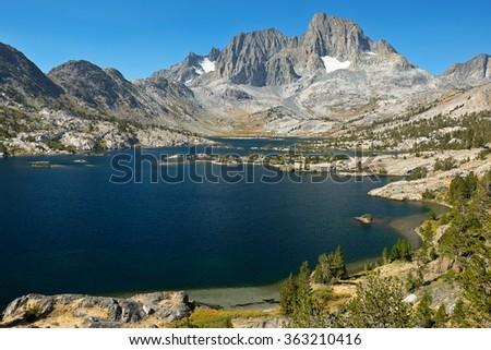 Garnet Lake Mt Ritter and Banner Peak, Ansel Adams Wilderness, California - stock photo