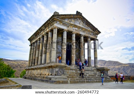 Garni, ARMENIA - September 28,2014:after a concert at garni, tourists stroll and relax.Architectural complex established in 3rd century BC, combine Hellenistic elements. - stock photo