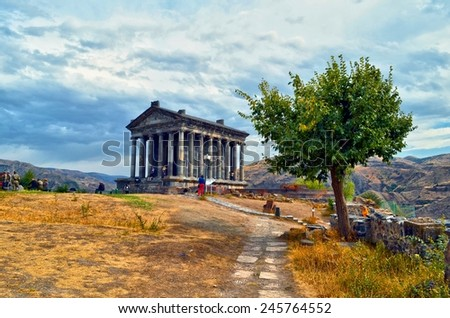 Garni Pagan Temple, the hellenistic temple in Republic of Armenia - stock photo