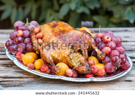 Garnished roasted duck - stock photo