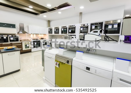 Gas Electric Ovens Stoves Other Appliance Stock Photo
