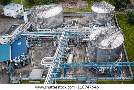 Gas and oil industrial from aerial view - stock photo