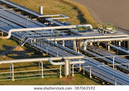 Gas and oil pipelines. - stock photo