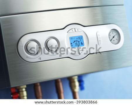 Gas boiler control panel. Gas boiler home heating. 3d - stock photo
